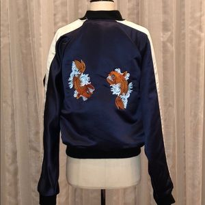 Made In England Satin Koi Fish Appliqué Jacket